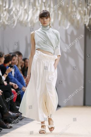 Stock Image of A Model Presents a Creation From the Spring/summer 2016 Ready to Wear Collection by German Designer Andrea Karg For Allude During the Paris Fashion Week in Paris France 07 October 2015 the Presentation of the Womens Collections Runs From 29 September to 07 October France Paris