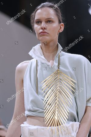 Stock Photo of A Model Presents a Creation From the Spring/summer 2016 Ready to Wear Collection by German Designer Andrea Karg For Allude During the Paris Fashion Week in Paris France 07 October 2015 the Presentation of the Womens Collections Runs From 29 September to 07 October France Paris