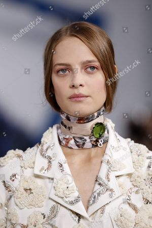 Belgian Model Ine Neefs Presents a Creation From the Spring/summer 2016 Ready to Wear Collection by Belgian Designer Raf Simons For Dior Fashion House During the Paris Fashion Week in Paris France 02 October 2015 the Presentation of the Women's Collections Runs From 29 September to 07 October France Paris