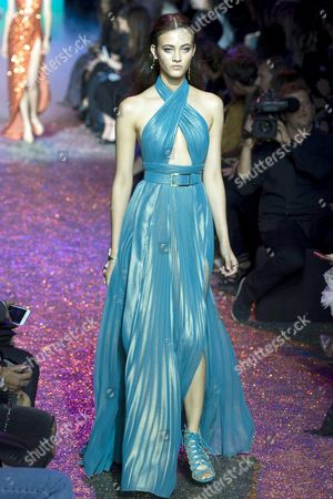 Italian Model Greta Varlese Presents a Creation From the Spring/summer 2017 Ready to Wear Collection by Lebanese Designer Elie Saab During the Paris Fashion Week in Paris France 01 October 2016 the Presentation of the Womens Collections Runs From 27 September to 05 October France Paris