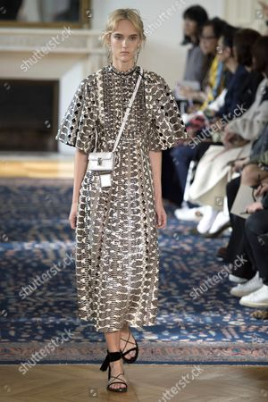Estonian Model Harleth Kuusik Presents a Creation From the Spring/summer 2017 Collection by Valentino During the Paris Fashion Week in Paris France 02 October 2016 the Presentation of the Women's Collections Runs From 27 September to 05 October France Paris