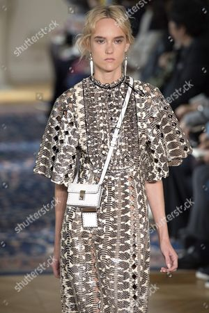 Stock Image of Estonian Model Harleth Kuusik Presents a Creation From the Spring/summer 2017 Collection by Valentino During the Paris Fashion Week in Paris France 2 October 2016 the Presentation of the Women's Collections Runs From 27 September to 05 October France Paris