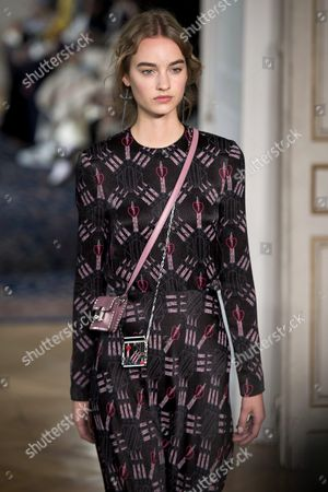 Dutch Model Maartje Verhoef Presents a Creation From the Spring/summer 2017 Collection by Valentino During the Paris Fashion Week in Paris France 2 October 2016 the Presentation of the Women's Collections Runs From 27 September to 05 October France Paris
