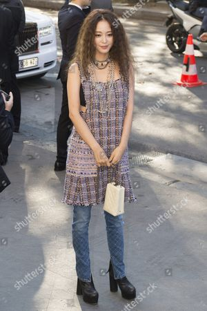 Stock Photo of South Korean Ye Seul Han Arrives For the Presentation of the Spring/summer 2016/2017 Collection by German Designer Karl Lagerfeld For Chanel Fashion House During the Paris Fashion Week in Paris France 04 October 2016 the Presentation of the Women's Collections Runs From 27 September to 05 October France Paris