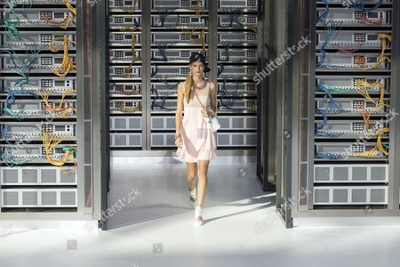 Stock Photo of Belgian Model Ine Neefs Presents a Creation From the Spring/summer 2016 Ready to Wear Collection by German Designer Karl Lagerfeld For Chanel During the Paris Fashion Week in Paris France 04 October 2016 the Presentation of the Women's Collections Runs From 27 September to 05 October France Paris