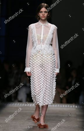 Austrian Model Stella Lucia Presents a Creation From the Spring/summer 2016 Ready to Wear Collection by Italian Designer Alessandro Dell'acqua For Rochas Fashion House During the Paris Fashion Week in Paris France 30 September 2015 the Presentation of the Women's Collections Runs From 30 September to 07 October France Paris
