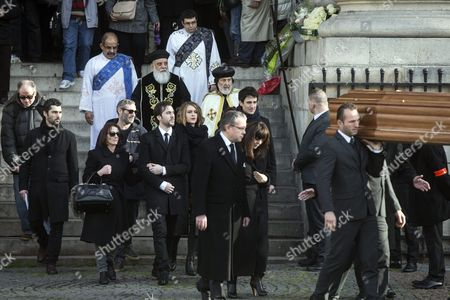 Family and Friends Follow the Coffin of French Singer Michel Delpech As It is Carried out of the Saint Sulpice Church After a Funeral Ceremony Prior to His Burial in Paris France 08 January 2016 Delpech Died Aged 69 on 02 January 2016 After Suffering From Cancer France Paris