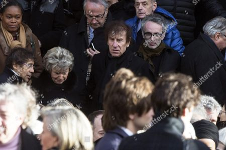 French Singers Alain Souchon (c) and Vincent Delerm (r) Leave the Saint Sulpice Church After a Funeral Ceremony For French Singer Michel Delpech Prior to His Burial in Paris France 08 January 2016 Delpech Died Aged 69 on 02 January 2016 After Suffering From Cancer France Paris