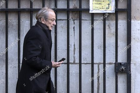 French Actor Patrick Chesnais Leaves the Saint Sulpice Church After a Funeral Ceremony For French Singer Michel Delpech Prior to His Burial in Paris France 08 January 2016 Delpech Died Aged 69 on 02 January 2016 After Suffering From Cancer France Paris