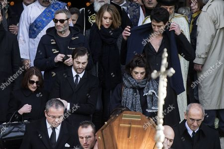 French Actress Pauline Delpech (c-r) Follows the Coffin of Her Late Father with Family and Friends As It is Carried out of the Saint Sulpice Church After a Funeral Ceremony For French Singer Michel Delpech Prior to His Burial in Paris France 08 January 2016 Delpech Died Aged 69 on 02 January 2016 After Suffering From Cancer France Paris