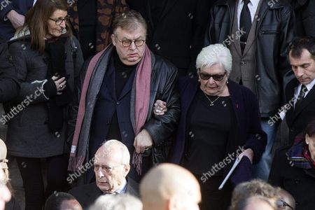 French Producer Dominique Besnehard (l) and French Singer Line Renaud Leave the Saint Sulpice Church After a Funeral Ceremony For French Singer Michel Delpech Prior to His Burial in Paris France 08 January 2016 Delpech Died Aged 69 on 02 January 2016 After Suffering From Cancer France Paris