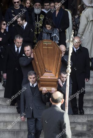 French Actress Pauline Delpech (c) Follows the Coffin of Her Late Father with Family and Friends As It is Carried out of the Saint Sulpice Church After a Funeral Ceremony For French Singer Michel Delpech Prior to His Burial in Paris France 08 January 2016 Delpech Died Aged 69 on 02 January 2016 After Suffering From Cancer France Paris