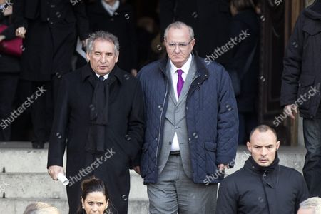French Politician Francois Bayrou (l) Leaves the Saint Sulpice Church After a Funeral Ceremony For French Singer Michel Delpech Prior to His Burial in Paris France 08 January 2016 Delpech Died Aged 69 on 02 January 2016 After Suffering From Cancer France Paris