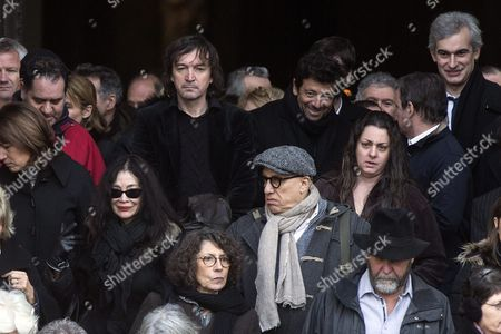 French Singers Cali (c-l) and Patrick Bruel (c-r) Leave the Saint Sulpice Church After a Funeral Ceremony For French Singer Michel Delpech Prior to His Burial in Paris France 08 January 2016 Delpech Died Aged 69 on 02 January 2016 After Suffering From Cancer France Paris