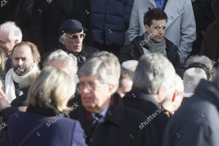 French Actor Gerard Darmon (l) Leaves the Saint Sulpice Church After a Funeral Ceremony For French Singer Michel Delpech Prior to His Burial in Paris France 08 January 2016 Delpech Died Aged 69 on 02 January 2016 After Suffering From Cancer France Paris