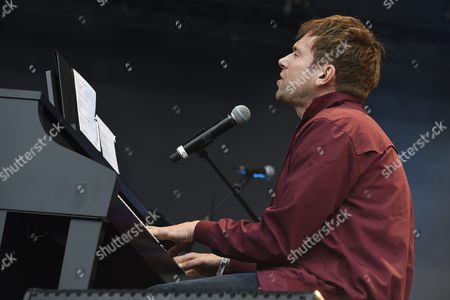 English Musician Damon Albarn Performs with the Tony Allen Review During a Concert at the 24th Annual Les Vieilles Charrues Festival in Carhaix France 18 July 2015 the Music Festival Runs From 16 to 19 July France Carhaix