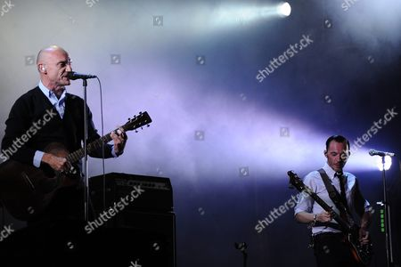 Gaetan Roussel (l) Singer/guitarist and Robin Feix (r) Bassist of French Band Louise Attaque Perform During a Concert at the 25th Annual Les Vieilles Charrues Festival in Carhaix France 16 July 2016 the Music Festival Runs From 14 to 17 July France Carhaix