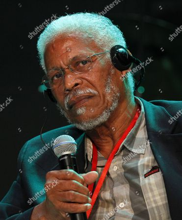 Stock Photo of William 'Balde' Howell Son of Leonard Howell Founder of the Reggae Movement Speaks During a Symposium at the Second Edition of the International Festival of Abidjan Reggae Know As Abi-reggae at the Palace of Culture in Abidjan Ivory Coast 08 April 2016 the Reggae Festival Brings Together Leading Reggae Artists From Around the World Between 7 to 10 April Cote D'ivoire Abidjan