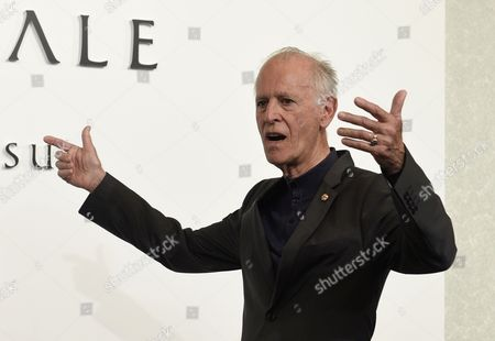 French Painter Martial Raysse Gestures During a Photo Call For the 26th Praemium Imperiale in Tokyo Japan 14 October 2014 the Praemium Imperiale is a Global Arts Prize Awarded Annually by the Japan Art Association Five Laureates Are Nominated in the Fields of Painting Sculpture Architecture Music and Theatre/film For Its 26th Edition the Praemium Imperiale Awards Have Been Given to French Painter Martial Raysse Italian Sculptor Giuseppe Penone Us Architect Steven Holl South African Playwright Athol Fugard and Estonian-born Composer Arvo Part Japan Tokyo