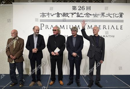 (l-r) South African Playwright Athol Fugard Estonian-born Composer Arvo Part Us Architect Steven Holl Italian Sculptor Giuseppe Penone and French Painter Martial Raysse Pose During a Photo Call For the 26th Praemium Imperiale in Tokyo Japan 14 October 2014 the Praemium Imperiale is a Global Arts Prize Awarded Annually by the Japan Art Association Five Laureates Are Nominated in the Fields of Painting Sculpture Architecture Music and Theatre/film For Its 26th Edition the Praemium Imperiale Awards Have Been Given to French Painter Martial Raysse Italian Sculptor Giuseppe Penone Us Architect Steven Holl South African Playwright Athol Fugard and Estonian-born Composer Arvo Part Japan Tokyo
