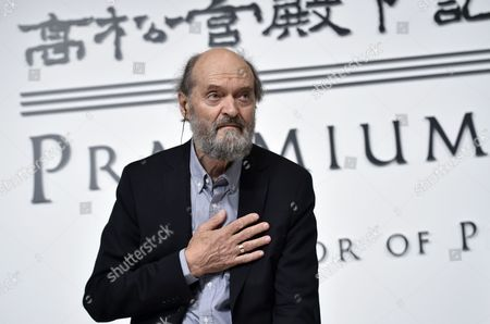 Estonian-born Composer Arvo Part Gestures at the Start of a Press Conference For the 26th Praemium Imperiale in Tokyo Japan 14 October 2014 the Praemium Imperiale is a Global Arts Prize Awarded Annually by the Japan Art Association Five Laureates Are Nominated in the Fields of Painting Sculpture Architecture Music and Theatre/film For Its 26th Edition the Praemium Imperiale Awards Have Been Given to French Painter Martial Raysse Italian Sculptor Giuseppe Penone Us Architect Steven Holl South African Playwright Athol Fugard and Estonian-born Composer Arvo Part Japan Tokyo