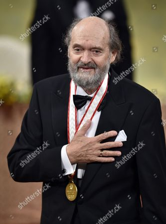 Estonian-born Composer Arvo Part Gestures to the Audience After He Gave a Speech During the Awards Ceremony of the 26th Praemium Imperiale in Tokyo Japan 15 October 2014 the Praemium Imperiale is a Global Arts Prize Awarded Annually by the Japan Art Association Five Laureates Are Nominated in the Fields of Painting Sculpture Architecture Music and Theatre/film For Its 26th Edition the Praemium Imperiale Awards Have Been Given to French Painter Martial Raysse Italian Sculptor Giuseppe Penone Us Architect Steven Holl South African Playwright Athol Fugard and Estonian-born Composer Arvo Part Japan Tokyo