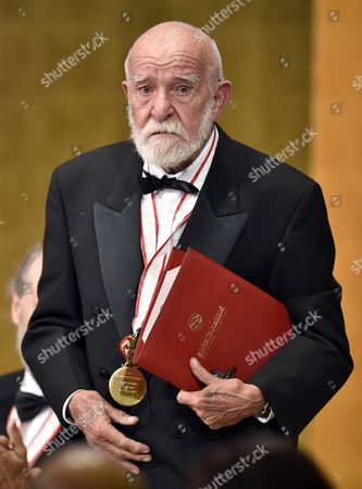 South African Playwright Athol Fugard Gets Emotional After He Gave a Speech During the Awards Ceremony of the 26th Praemium Imperiale in Tokyo Japan 15 October 2014 the Praemium Imperiale is a Global Arts Prize Awarded Annually by the Japan Art Association Five Laureates Are Nominated in the Fields of Painting Sculpture Architecture Music and Theatre/film For Its 26th Edition the Praemium Imperiale Awards Have Been Given to French Painter Martial Raysse Italian Sculptor Giuseppe Penone Us Architect Steven Holl South African Playwright Athol Fugard and Estonian-born Composer Arvo Part Japan Tokyo