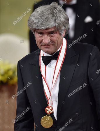 Italian Sculptor Giuseppe Penone Acknowledges the Audience After Receiving a Medal During the Awards Ceremony of the 26th Praemium Imperiale in Tokyo Japan 15 October 2014 the Praemium Imperiale is a Global Arts Prize Awarded Annually by the Japan Art Association Five Laureates Are Nominated in the Fields of Painting Sculpture Architecture Music and Theatre/film For Its 26th Edition the Praemium Imperiale Awards Have Been Given to French Painter Martial Raysse Italian Sculptor Giuseppe Penone Us Architect Steven Holl South African Playwright Athol Fugard and Estonian-born Composer Arvo Part Japan Tokyo