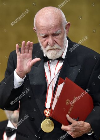 South African Playwright Athol Fugard Gestures to the Audience After He Gave a Speech During the Awards Ceremony of the 26th Praemium Imperiale in Tokyo Japan 15 October 2014 the Praemium Imperiale is a Global Arts Prize Awarded Annually by the Japan Art Association Five Laureates Are Nominated in the Fields of Painting Sculpture Architecture Music and Theatre/film For Its 26th Edition the Praemium Imperiale Awards Have Been Given to French Painter Martial Raysse Italian Sculptor Giuseppe Penone Us Architect Steven Holl South African Playwright Athol Fugard and Estonian-born Composer Arvo Part Japan Tokyo