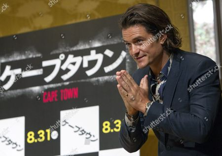 British Actor and Cast Member Orlando Bloom Attends a Press Conference Promoting the Movie 'Zulu' (cape Town) in Tokyo Japan 27 August 2014 the Movie Thriller Directed by French Film Director Jerome Salle Will Be Released in Theaters All Across Japan on 30 August Japan Tokyo