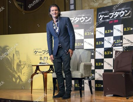 British Actor and Cast Member Orlando Bloom Upon His Arrival For a Press Conference to Promote the Movie 'Zulu' (cape Town) in Tokyo Japan 27 August 2014 the Movie Thriller Directed by French Film Director Jerome Salle Will Be Released in Theaters All Across Japan on 30 August Japan Tokyo