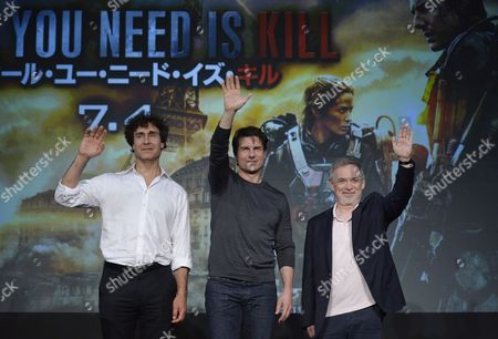 Stock Photo of Us Actor and Cast Member Tom Cruise (c) Waves with Film Director Doug Liman (l) and Producer Erwin Stoff During a Press Conference Promoting Their Latest Movie 'Edge of Tomorrow' in Tokyo Japan 27 June 2014 Edge of Tomorrow Will Be Screened Across Japan From 04 July the Movie is Based on the Science Fiction Novel 'All You Need is Kill' by Japanese Writer Hiroshi Sakurazaka Japan Tokyo