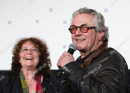 Australian Film Director George Miller (r) Speaks As Australian Actress Joanne Samuel (l) From the Original 1979 Mad Max Movie Listens During Stage Greeting For 'Mad Max: Fury Road' in Tokyo Japan 05 June 2015 the Movie Will Be Released in Theaters Across Japan on 20 June Japan Tokyo