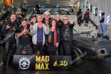 Stock Photo of Cast and Crew Members From the Original 1979 Mad Max Movie Pose For Photographers During a Photocall For 'Mad Max: Fury Road' in Tokyo Japan 05 June 2015 Front Row (l-r): Japanese Comedian Sujitaro Tamabukuro Stuntman Dale Bench Australian Actor Tim Burns Australian Actress Joanne Samuel Back Row (l-r): Australian Actor Vincent Gil Actor Paul Johnstone Australian Actor Vernon Wells Australian Director George Miller 'Mad Max: Fury Road' Will Be Released in Theaters Across Japan on 20 June Japan Tokyo