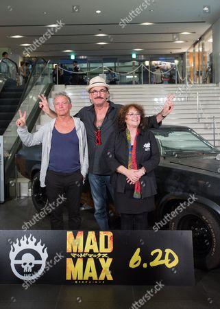 Stock Picture of Cast Members From the Original 1979 Mad Max Movie (l-r) Australian Actor Tim Burns Actor Paul Johnstone and Australian Actress Joanne Samuel Pose For Photographers During a Photocall For 'Mad Max: Fury Road' in Tokyo Japan 05 June 2015 'Mad Max: Fury Road' Will Be Released in Theaters Across Japan on 20 June Japan Tokyo
