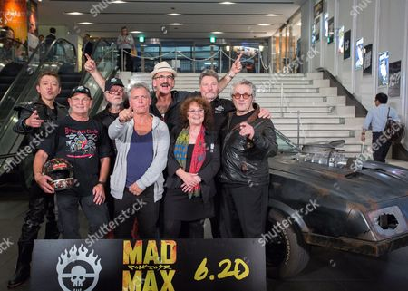Cast and Crew Members From the Original 1979 Mad Max Movie Pose For Photographers During a Photocall For 'Mad Max: Fury Road' in Tokyo Japan 05 June 2015 Front Row (l-r): Stuntman Dale Bench Australian Actor Tim Burns Australian Actress Joanne Samuel Back Row (l-r): Japanese Comedian Sujitaro Tamabukuro Australian Actor Vincent Gil Actor Paul Johnstone Australian Actor Vernon Wells Australian Director George Miller 'Mad Max: Fury Road' Will Be Released in Theaters Across Japan on 20 June Japan Tokyo