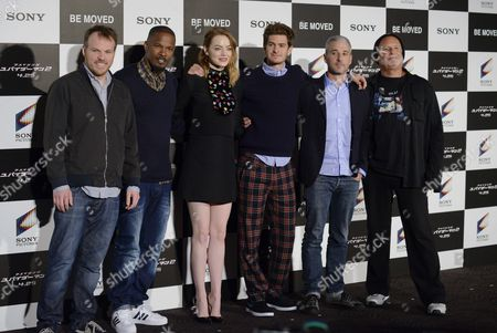 (l-r) Us Director Marc Webb Us Actors and Cast Members Jamie Foxx Emma Stone Andrew Garfield Producers Matthew Tolmach and Avi Arad Pose For Photographs During a Press Event For 'The Amazing Spider-man 2' in Tokyo Japan 31 March 2014 the Movie Will Be Released in Japan on 25 April Japan Tokyo