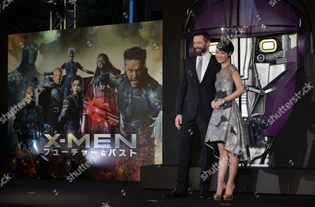 Australian Actor and Cast Member Hugh Jackman (l) Poses with Japanese Actress and Model Ayame Goriki (r) who is Dubbing in Japanese the Voice of the Movie's Mystique Character During the Premiere of 'X-men: Days of Future Past' in Tokyo Japan 27 May 2014 the Movie Will Be Released in Japanese Theatres on 30 May Japan Tokyo