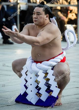 Mongolian-born Yokozuna Or Grand Champion Sumo Wrestler Harumafuji Kohei Performs a Ring-entering Ceremony During the New Year's Sumo Dedication Event at Meiji Shrine in Tokyo Japan 07 January 2015 the Annual Ceremony Attracted Thousands of Well-wishers who Showed Their Support to Wish For a Successful Start For the First Grand Sumo Tournament of the New Year Japan Tokyo