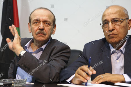 Secretary General of the Executive Committee Yasser Abed Rabbo (l) and a Member of the Palestinian Negotiating Team Nabil Shaath (r) Attend a Meeting of Israeli Likud & Shas Party Members with Senior Palestinian Officials Yasser Abed Rabbo and Nabil Shaath at Plo (palestinian Liberation Organization) Offices in Ramallah 07 July 2012 the Meeting was Organized by Geneva Initiative Organization and That was an Introductory Meeting to Discuss the Possibility of Resuming Direct Peace Talks Between the Plo Seniors and Israel's Likud and Shas Party Members - Ramallah