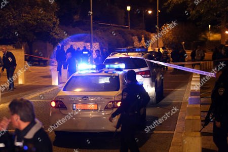 Israeli Police at the Crime Scene where a Motorcyclist Reportedly Shot a Well Known Right-wing Activist Rabbi Yehuda Glick at the End of a Conference of the Jewish Temple Mount Faithful at the Menachem Begin Heritage Center in Jerusalem 29 October 2014 According to Media Reports the Shooter is Believed to Be a Palestinian Man Rabbi Glick who is Known For Preaching to Jews That They Should Pray Inside the Temple Mount was Transported to a Nearby Hospital and is Said to Be in Serious Condition Israel Jerusalem