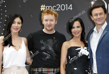 (l-r) British Actress Jaime Murray Scottish Actor Tony Curran Us Actress Julie Benz and New Zealand Actor Grant Bowler Pose During a Photocall For the Tv Series 'Defiance' at the 54th Monte Carlo Television Festival in Monaco 10 June 2014 the Festival Runs From 07 to 11 June Monaco Monaco
