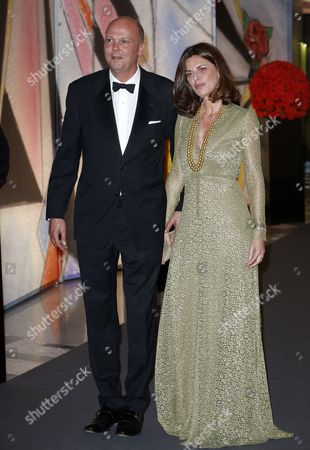Stock Image of Prince Serge of Yugoslavia Arrives with His Wife Eleonora at the 'Bal De La Rose' (rose Ball) For the 50th Anniversary of Princess Grace Foundation in Monaco 29 March 2014 the 'Bal De La Rose' is a Traditional Annual Charity Event in the Principality of Monaco Monaco Monaco