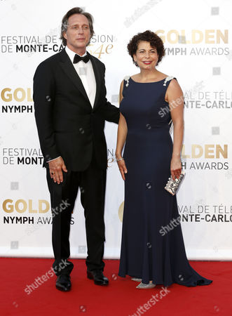 Us Actor William Fichtner (l) and German Producer Rola Bauer (r) Pose During the Closing Ceremony of the 54th Monte Carlo Television Festival in Monaco 11 June 2014 Monaco Monaco