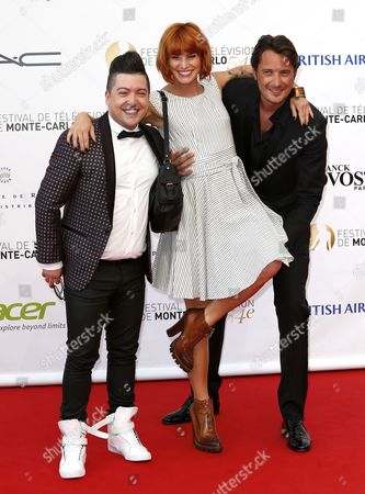 French Dancers Chris Marques (l) and Fauve Hautot (c) and Tv Presenter Vincent Cerutti (r) Pose on the Red Carpet While Arriving For the Opening Ceremony of the Monte Carlo Television Festival in Monaco 07 June 2014 the Event Will Take Place From 07 to 11 June Monaco Monaco