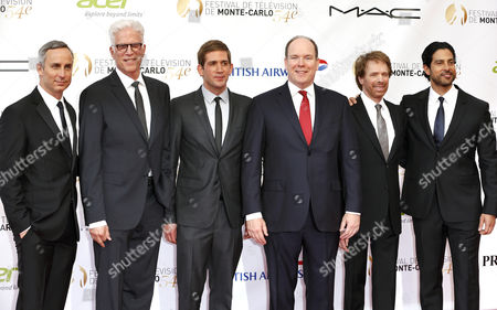(l-r) Us Actors Wallace Langham Ted Danson Eric Szmanda Prince Albert Ii of Monaco Us Producer Jerry Bruckheimer and Adam Rodriguez Pose on the Red Carpet While Arriving For the Opening Ceremony of the Monte Carlo Television Festival in Monaco 07 June 2014 the Event Will Take Place From 07 to 11 June Monaco Monaco