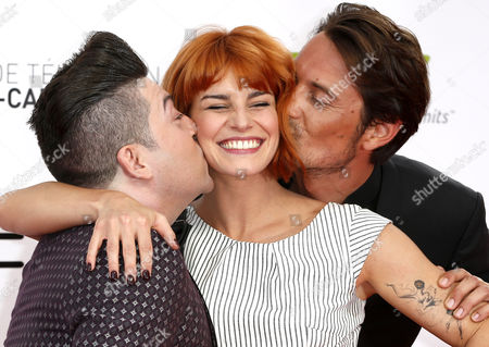 French Dancers Chris Marques (l) and Fauve Hautot (c) and Tv Presenter Vincent Cerutti (r) Pose on the Red Carpet While Arriving For the Opening Ceremony of the Monte Carlo Television Festival in Monaco 07 June 2014 the Event Will Take Place From 07 to 11 June Epa/sebastien Nogier Monaco Monaco
