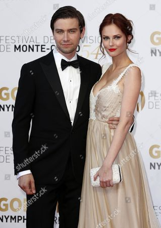Canadian Actor Torrance Coombs (l) Poses with Us Model Alyssa Campanella (r) During the Closing Ceremony of the 54th Monte Carlo Television Festival in Monaco 11 June 2014 Monaco Monaco