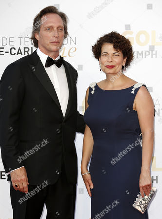 Stock Image of Us Actor William Fichtner (l) and German Producer Rola Bauer (r) Pose During the Closing Ceremony of the 54th Monte Carlo Television Festival in Monaco 11 June 2014 Monaco Monaco