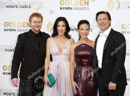 (l-r) Scottish Actor Tony Curran British Actress Jaime Murray Us Actress Julie Benz and New Zealand Actor Grant Bowler Pose During the Closing Ceremony of the 54th Monte Carlo Television Festival in Monaco 11 June 2014 Monaco Monaco